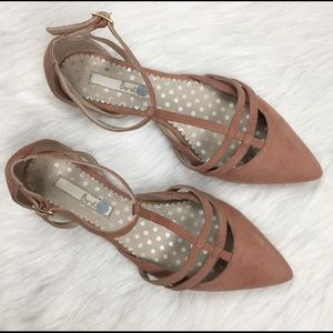 Boden Pink/Mauve Suede T Strap Pointy Flat